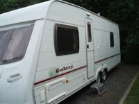 Lunar Galaxy Touring Caravan Twin Axle with Bradcot Residencia Awning. Excellent Condition.