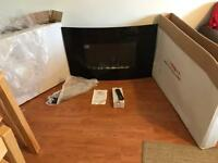 Wall mounted electric fire with remote