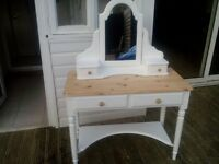 Pine ducal shabby chic dressing table and mirror /console table