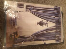 New Curtains Blue And Grey With Tie Backs Still In Packet 90 inches wide by 90 inches drop