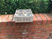 Herb pottery pots in wooden tray