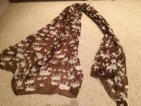 Ladies large scarf / wrap elephant design