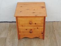 2 Drawer solid pine bedside cabinet (Delivery)