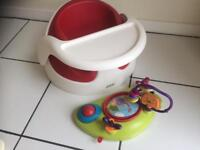 Bumbo seat with tray and toys
