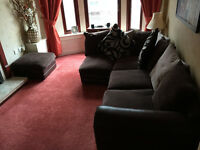 Brown Corner Sofa (with footstool) Great Condition.
