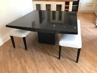 Barker and Stonehouse Black Marble Dining Table with Benches