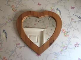 Solid PINE heart shaped mirror SHABBY CHIC