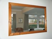 Large antique pine coloured mirror for sale in very good condition.