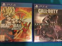 Call of duty advanced warfare and dragonball xv on PS4