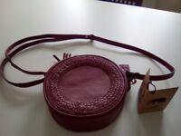 New Taurus Burgundy Leather Over The Shoulder Bag