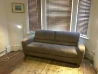 Brown suede 3 seater sofa-bed