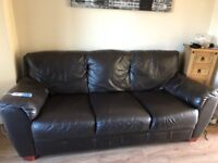2 and 3 seater dark brown sofas