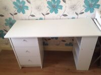 White wooden desk with three drawers and three shelves from argos.