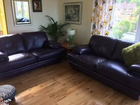 Leather 2 x two seater sofas Aubergine