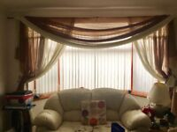 Voile curtain with lace