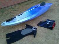 Kayak Tek Sport 285X-T-Sea sit on comes with paddle, wetsuit, life jacket in good condition