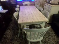 TOP OF THE RANGE, HEAVY SOLID PINE, FARMHOUSE TABLE WITH 8 LARGE MATCHING CHAIRS