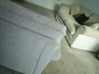 Harveys Fabric Sofa & Chair. Beige Settee Seats 2 / 3 & Chair. Local Delivery. Ex Con
