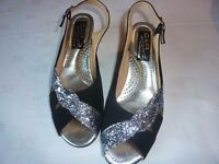 Pair of Size 6 Ladies Black and Silver Sandals - Collect from Newcastle Upon Tyne NE15 area only