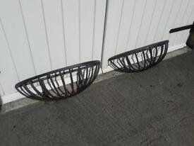 Matching Pair of Large Vintage Cast Iron Wall Hung Half Moon Plant Baskets