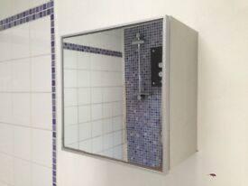 Square mirrored bathroom cabinet