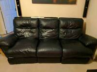 DFS 3 Seater Black Leather Recliner Sofa With Reclining Armchair