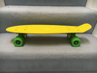 """Land Surfer Cruiser Skateboard 22"""" YELLOW BOARD GREEN WHEELS"""