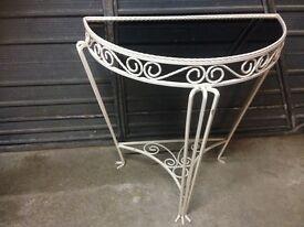 Half moon wrought iron table