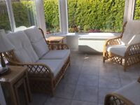 Cane Conservatory Sofa and two chairs.