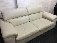 New/Ex Display Reid Liberata Light Cream/White Leather 3 Seater Sofa (movable head rest)