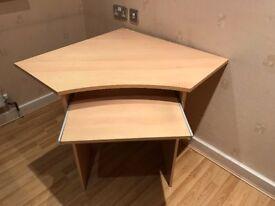 2 Study units - corner unit with keyboard shelf & rectangle desk unit