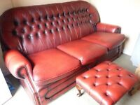 CHESTERFIELD OXBLOOD LEATHER 3 SEATER SOFA PLUS 1 ARMCHAIR + FOOTSTOOL, LOVELY CONDITION £450