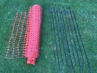 50m Orange Barrier Site Fencing & 10 Roughneck 1.2m Fencing Pins
