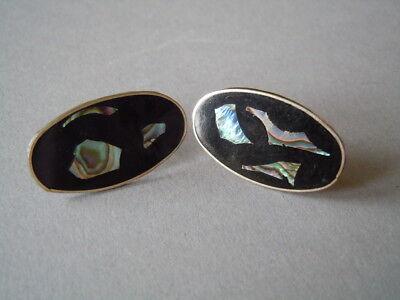 Ovale Alpacca? Ohrstecker mit Seeopal/Abalone Einlage 2,8 g / 2,7 x 1,4 cm