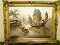Old Japanese Junk Ship oil painting