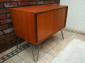 Vintage Retro G Plan E Gomme Teak Sliding Door Cupboard Drinks Unit Hairpin Legs