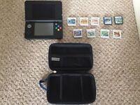 New Nintendo 3ds Bundle, Black, 9 cartridges, case