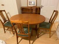 Mid century modern original Parker Knoll extending dining table and 6 chairs