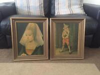Pair of interesting pictures of a Jester & Lady Framed in Hong Kong Antique Collectable