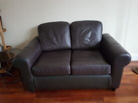 2 Seater Sofa, Brown Faux Leather - Free - Just have to Collect