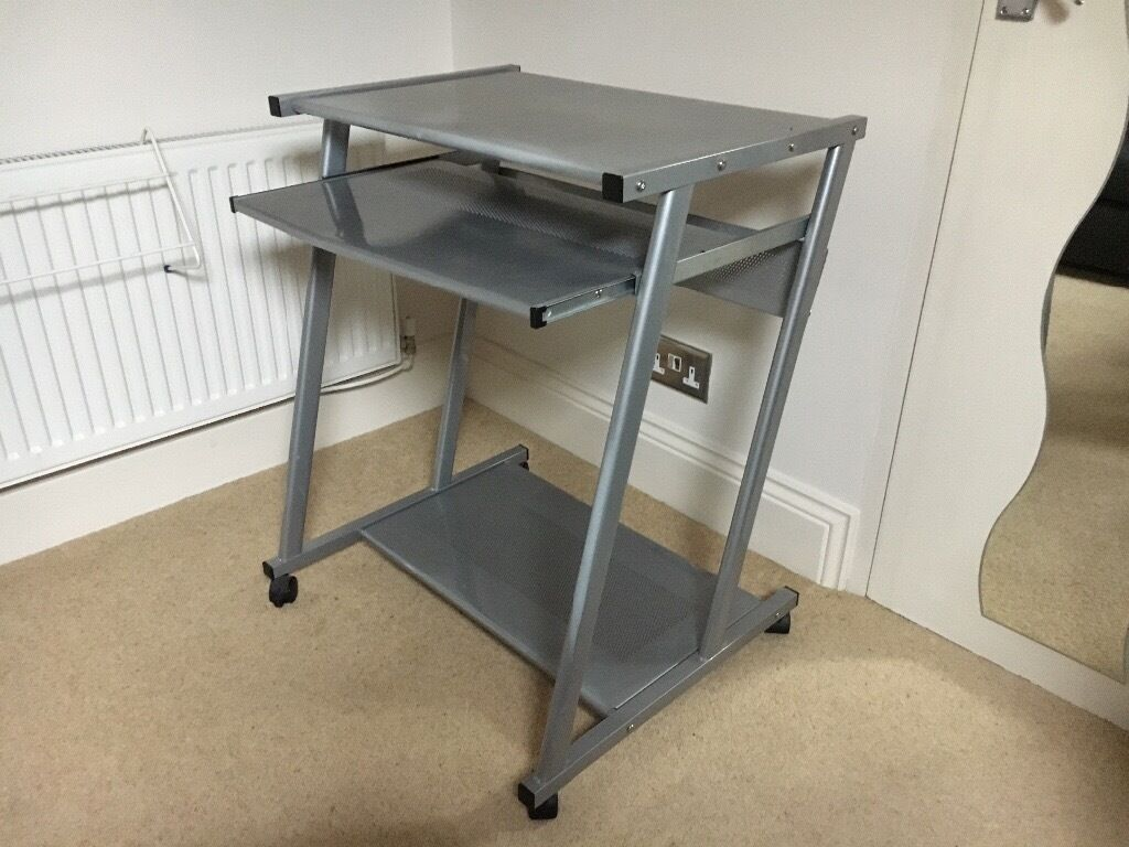 Computer/Laptop workstationin Sheffield, South YorkshireGumtree - Computer/Laptop workstation made in a brushed metal with a sliding shelf and castors for easy movement. Ideal for a desktop or a laptop computer or could be used as a desk. Good condition no damage and a real bargain at £15 Buyer collects