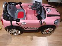 Electric pink mini car kids