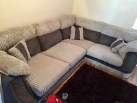 Grey Fabric And Faux Leather L Shape Settee
