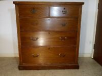 Antique Edwardian Mahogany Chest of 5 Drawers Brass Handles In Need Of Some TLC