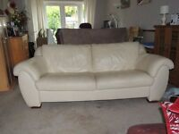 Sofa and chair cream leather sofa