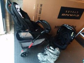 Obaby Monty pushchair travel system with car seat & raincover