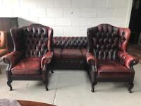 Ox blood red chesterfield 3 piece suite