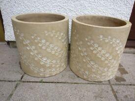 "Large ""Slightly Decorative"" Plant Pots (x2)"