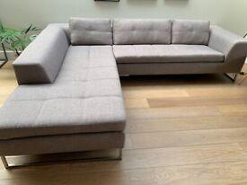 Light Grey 3-Seater Chaise Sofa