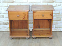 2 Bedsides for refurb pine wood on bun feet (Delivery)